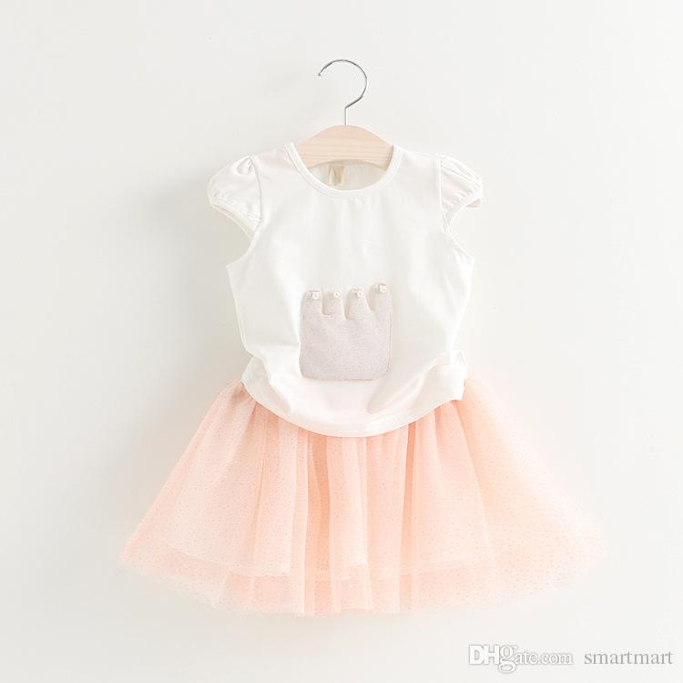2016 2pcs Outfit Sets Kids Girls Crown T-shirt + Lovely Mesh Design Tutu Skirt Twinsets Suits for 2-7T<br><br>Aliexpress