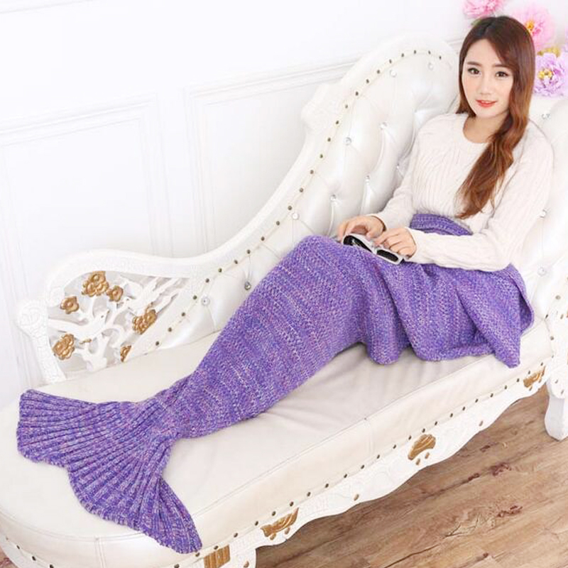 Yarn Knitted Mermaid Tail Blanket Handmade Crochet Mermaid Blanket Kids Throw Bed Wrap Super Soft Sleeping Bed(China (Mainland))