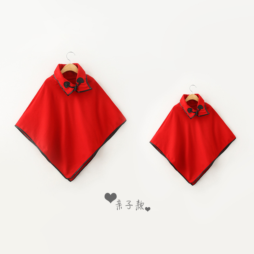 Christmas Mother and Daughter loose Jumper Shawl Kids girl Spring winter wool blends poncho kids capes 2016 Family Clothing<br>