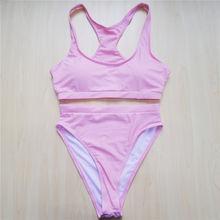 Empuk Seksi Tinggi Memotong Kaki Olahraga Bikini 2019 Perempuan Baju Renang Wanita Baju Renang Dua Potong Bikini Set Bather Baju berenang V501(China)