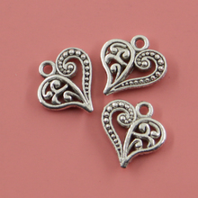 30 pcs Hollow Heart Charms Fashion Pendants Bracelet Necklace Accessories Jewelry Making Handmade,Tibetan Silver Plated 15*14mm