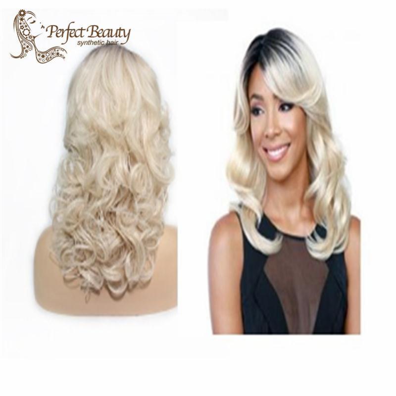 Здесь продается  Ombre blond Wig wavy Fashion Wig long blonde with dark root TOP quality hair wigs Free shipping  Волосы и аксессуары
