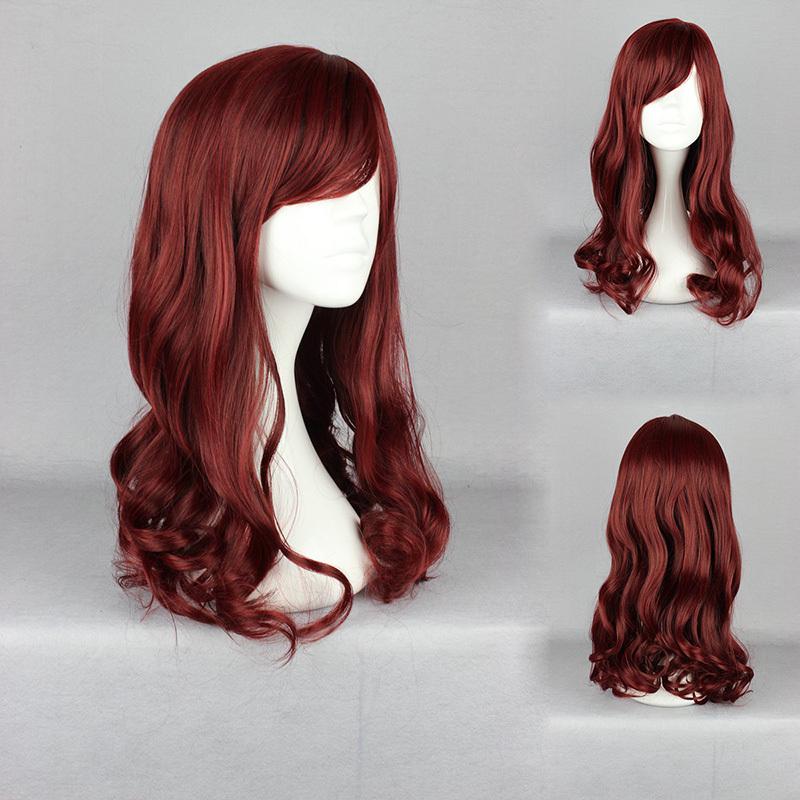50cm Long Lolita New Fashion  Red Wine  Wig Long Wavy Curly Hair Women Cosplay Full Wigs<br><br>Aliexpress