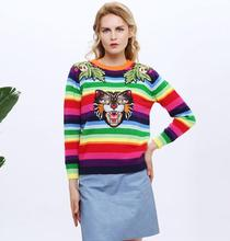 FinalFit Women Sweater Rainbow Stripe Floral Animal Tiger Embroidery Wool Knitted Sweater Women Pullovers Chandail Pull Femme(China)