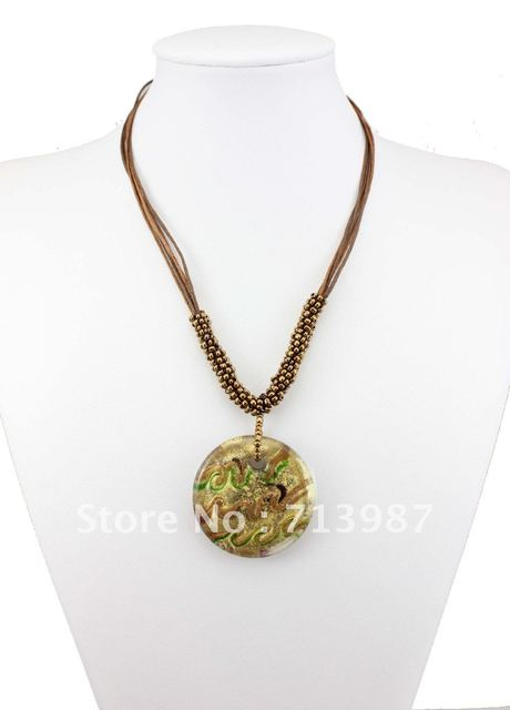 1pcs Wholesale  Fashion European Gold dust  lampwork  Murano  Glass Pendant  Necklaces beads Jewelry  BS096