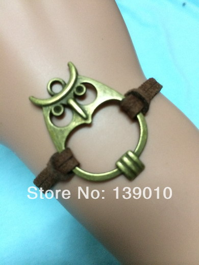 Free Shipping!12PCS/LOT!Antique Bronze Owl Stone Charm Brown Leather Rope Wrap Bracelet Perfect Unisex Costume Jewelry S-083(China (Mainland))