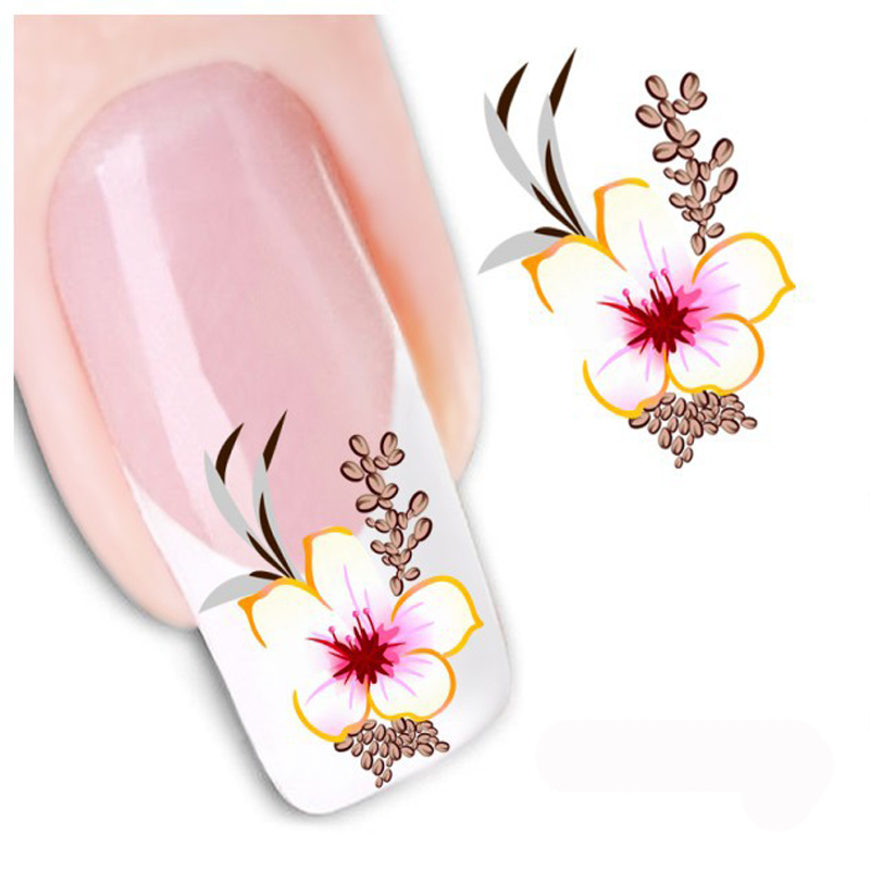 1Pc Flower Water Transfer Nail Art Decals Sticker Decoration Nail Art Sticker Watermark Sticker Decals DIY Manicure Nail Tools(China (Mainland))