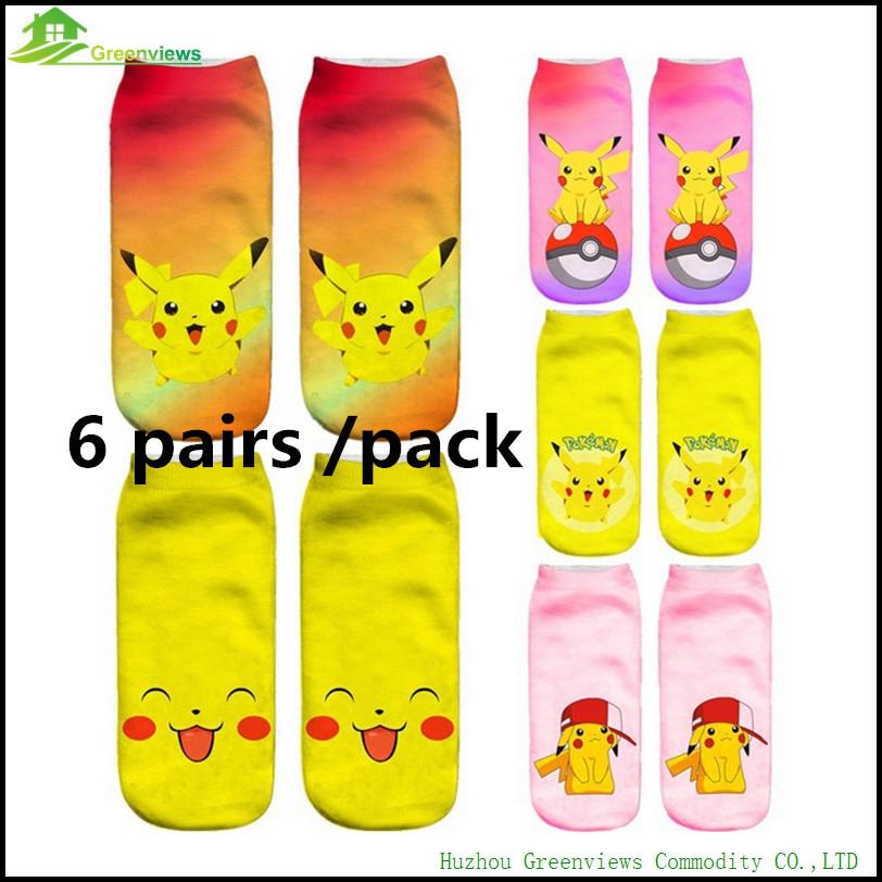 6 pairspack3d chaussettes femmes unisexe harajuku kawaii low cut cheville chaussette pokemon