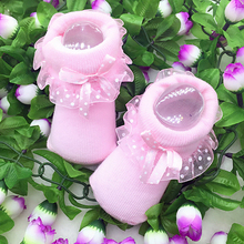 1 Pair Cute Toddlers Infants Cotton Ankle Bow Socks Baby Girls Princess Bowknots Socks Lace Floral Shoes for 0-6 Months(China (Mainland))