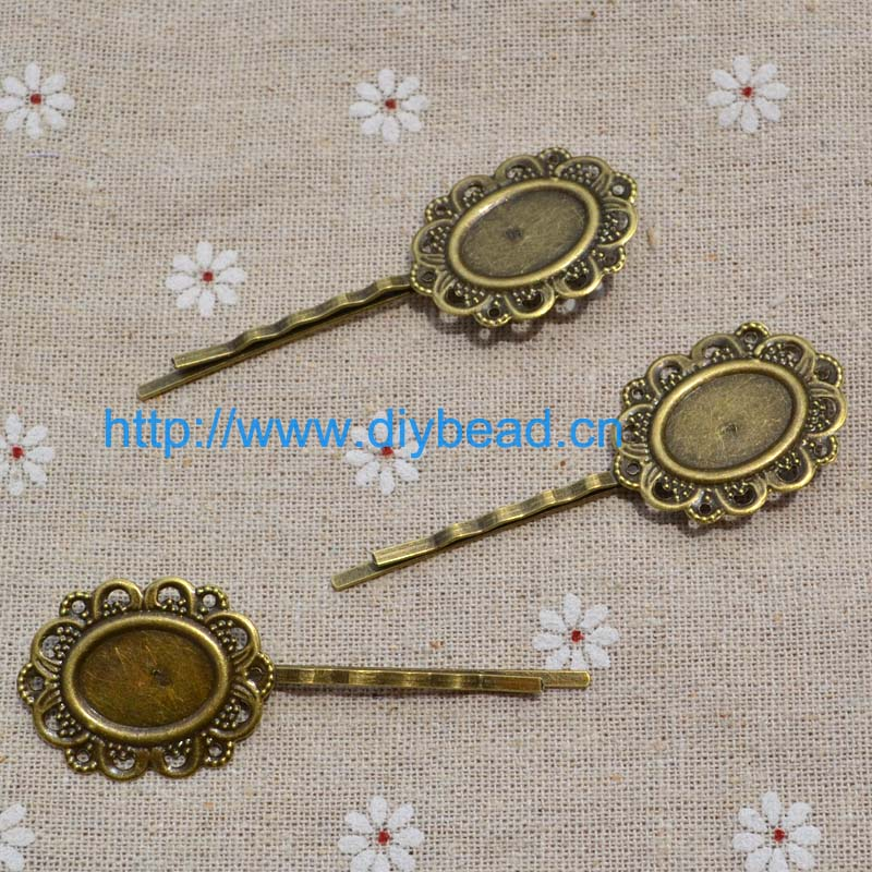 20 pieces/lot DIY jewelry Findings,Retro Court Hair Clip department,Antique Brozen Plated Hairpin(China (Mainland))
