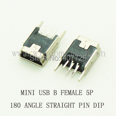 Free shipping 1000pcs/lot Mini USB 2.0 connector B type 5pin 180 angle straight feet DIP<br><br>Aliexpress