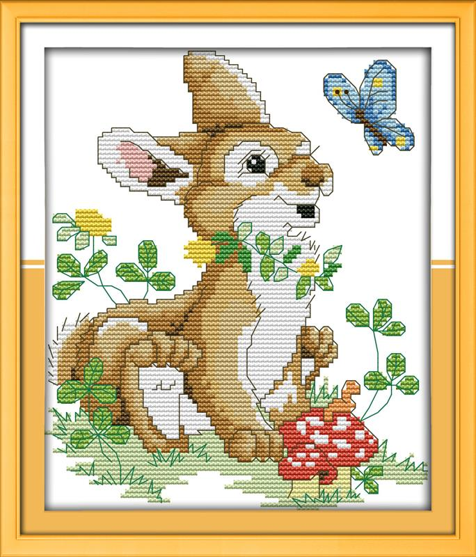 Free DIY Needlework Patchwork The rabbit and butterfly DMC Cross Stitch Kits for Embroidery Knitting Needles hobbies and crafts(China (Mainland))