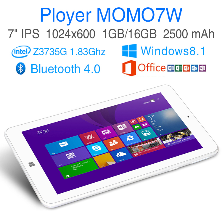 Intel Quad Core 1.83Ghz Windows 8.1 tablet pcs 7 inch IPS screen RAM 1GB ROM 16GB computer Games ultrabook laptop Ployer MOMO7W(China (Mainland))