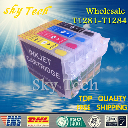10 sets wholesale Refill ink cartridge suit  for  T1281 - T1284 ,suit for s22 sx125 sx425w BX305F BX305FW  sx420w etc ,Empty