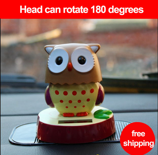 2016 New Cute Cartoon Lovely Dolls owl ABS With A Bobble Head Car Styling Mini Solar Powered Shaking Head Toys Free shipping(China (Mainland))