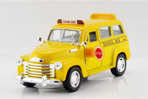 Free shipping Kinsmart 1:36 Chevrolet school bus Alloy model toys Leap to jump Children like the gift(China (Mainland))