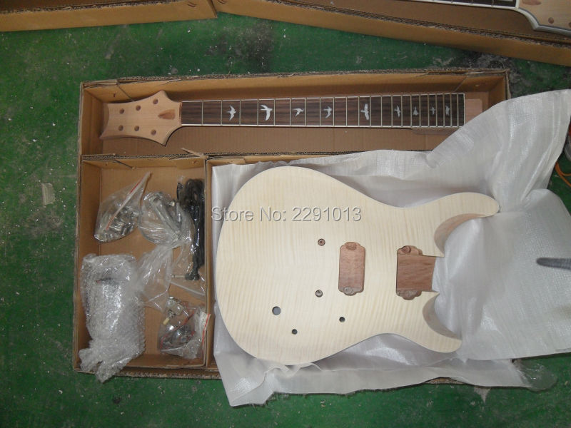 DIY guitar Unfinished Electric Guitar Kits PRS model with Flame maple top Free shipping(China (Mainland))