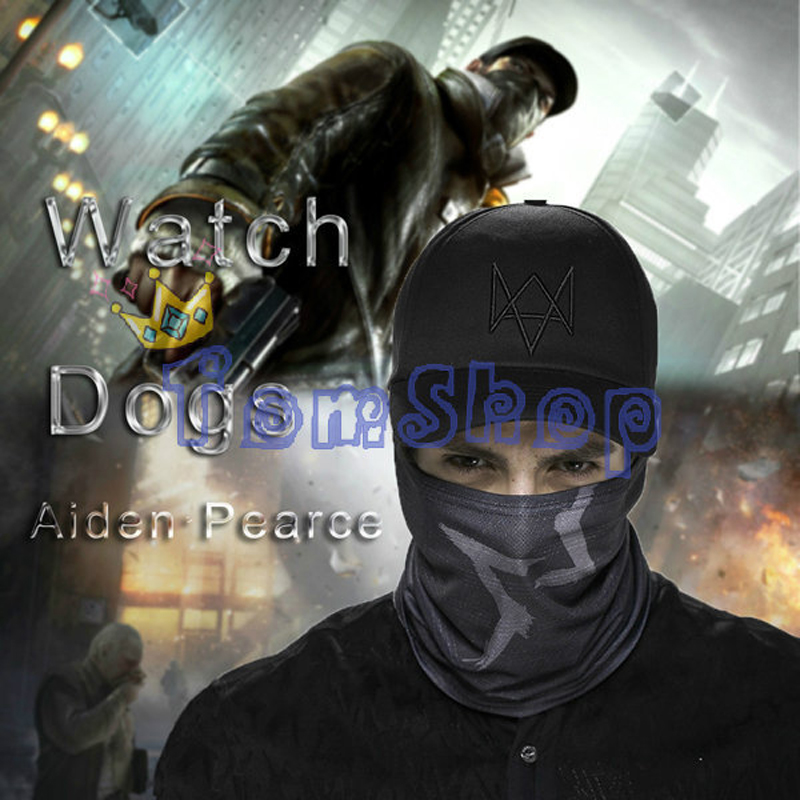 Watch Dogs Aiden Pearce Cosplay Face Tube Mask + Cap SET Hat Video Game WATCHDOGS Costume Baseball Caps Free Shipping(China (Mainland))
