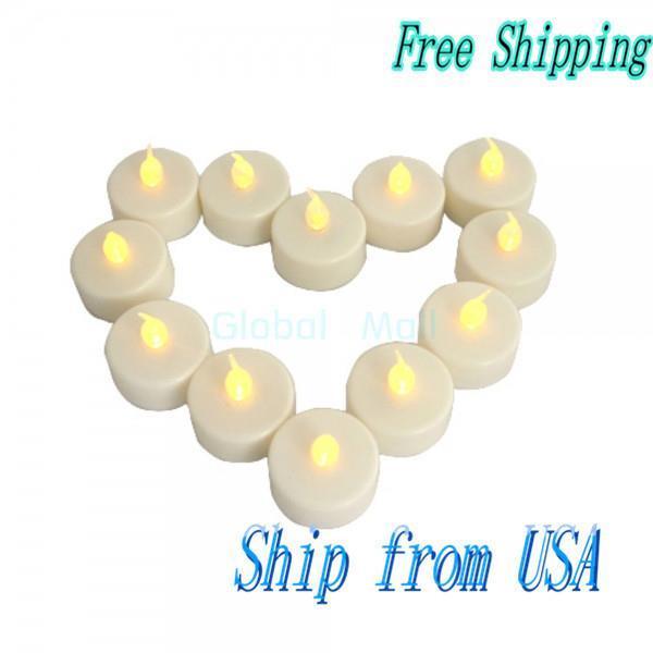Ship From USA Wholesale 10*12 Pcs Wedding Candle Light Flicker Light Flameless LED Tealight Tea Candles JA027YE*10(China (Mainland))
