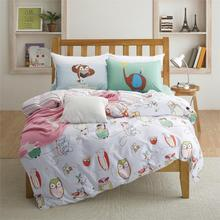 100% cotton owl print kids bedding set queen/twin size with quilt duvet cover bed sheet pillowcase cartoon bedclothes(China (Mainland))