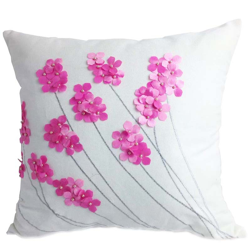 Decorative Cotton Embroidery Cushion Cover With Beads , Home Decor Sofa Car Outdoor Bedding ...