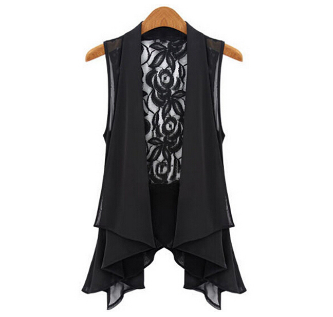 Women Slim Asymmetric Chiffon Cardigan Vest Long Lace Clip Waistcoats Suzie BG-B2104(China (Mainland))