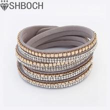 Crystal Bracelets &bangles For Women Multilayer Rhinestone Slake Leather Bracelet Crystal Long Braclet 2015 Fashion Jewelry(China (Mainland))
