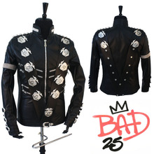 Rare MJ Michael Jackson Classic BAD Jacket With Silver Eagle Badges Punk Exactly Same High Collection Performance Show Gift