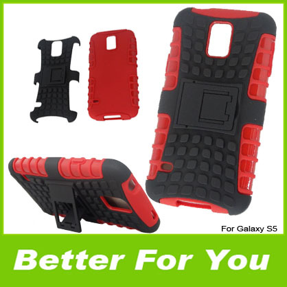 300pcs/l Rugged Hard Hybrid TPU + PC Case Robot Cell Phone Back Cover With Stand Holder For Samsung Galaxy s5 S V i9600 Fedex(China (Mainland))