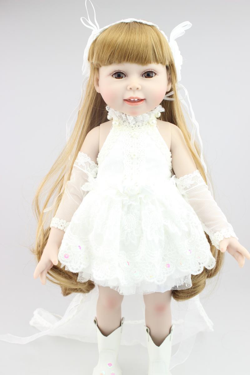 45CM American girl doll Blond long hair wedding dress doll reborn  best lover gift birthday gift for girls toys<br><br>Aliexpress