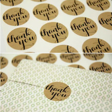 "12PCS ""Thank You"" Packaging Kraft Handmade Paper Sticker Labels Seal Favours Toppers Gift Cupcake Decal Free Shipping (China (Mainland))"