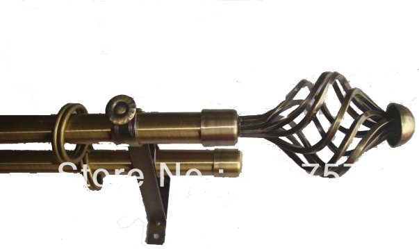 double curtain rod with square iron finial by plating antique brass ...