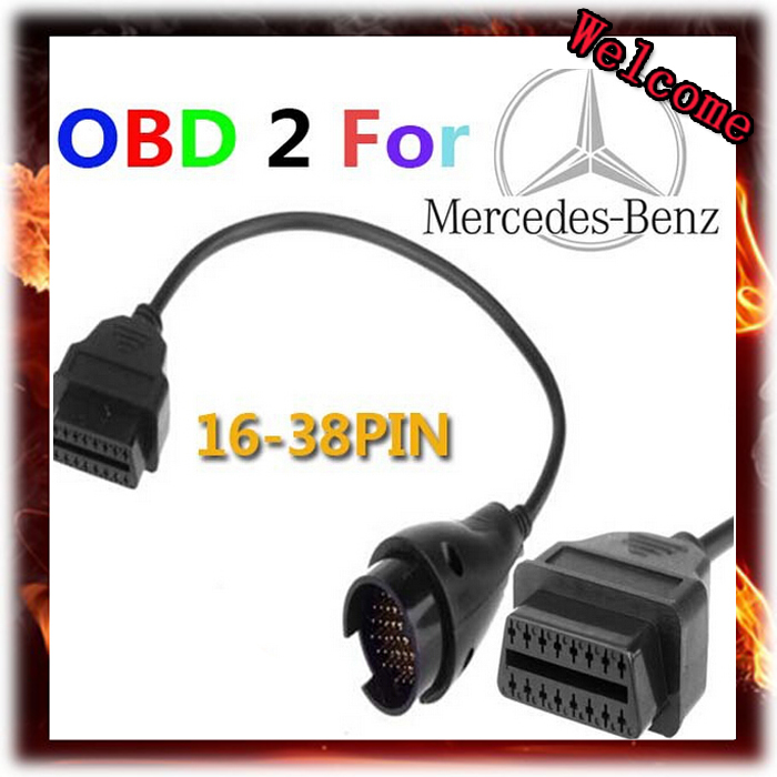 New 38 Pin to OBD2 OBDII 16 Pin Car Diagnostic Adapter Cable for Mercedes Benz, Free Shipping(China (Mainland))