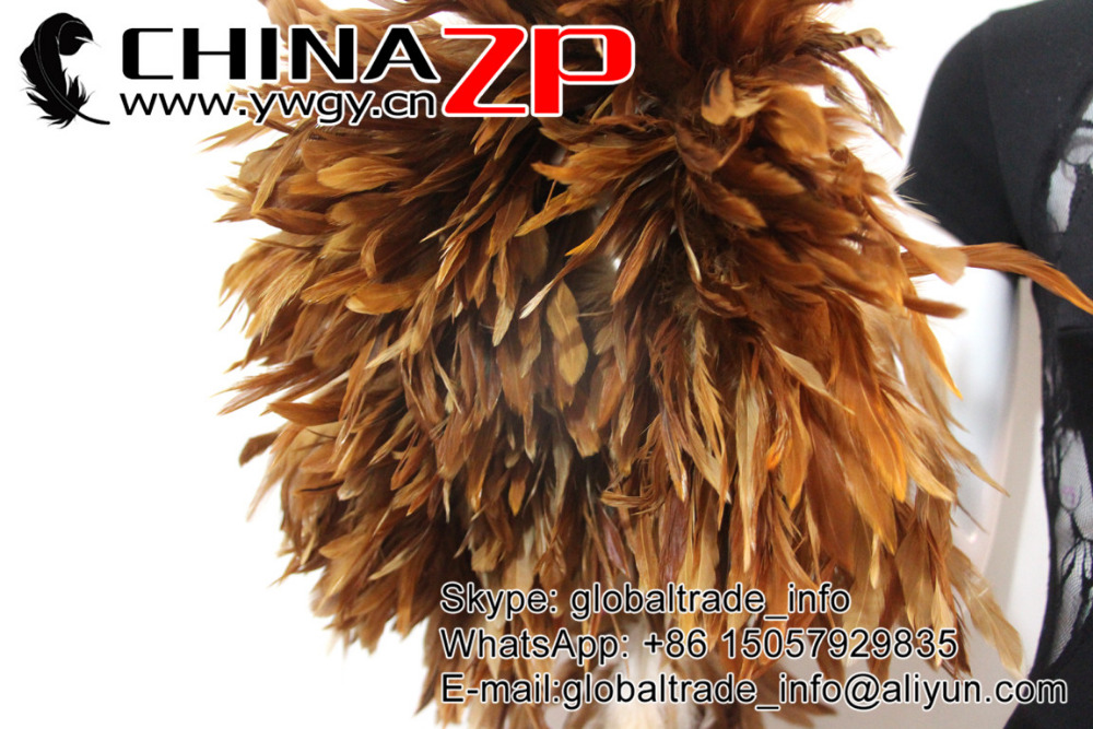 Natural Brown dyed wholesale strung cock feathers (9)