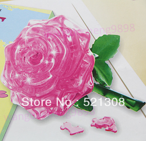Free Shipping 3D Crystal Puzzle Jigsaw Model DIY Rose IQ Toy Furnish Gift Souptoys Gadget(China (Mainland))