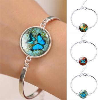 Лето стиль браслет винтажный чистое серебро Braclet бабочка стекло кабошон браслеты ...