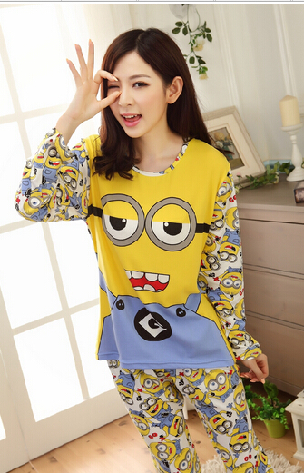 Minions Pajamas Womens 2015 New Arrival Cartoon Character Printed (Include Pants) Summer styles Одежда и ак�е��уары<br><br><br>Aliexpress