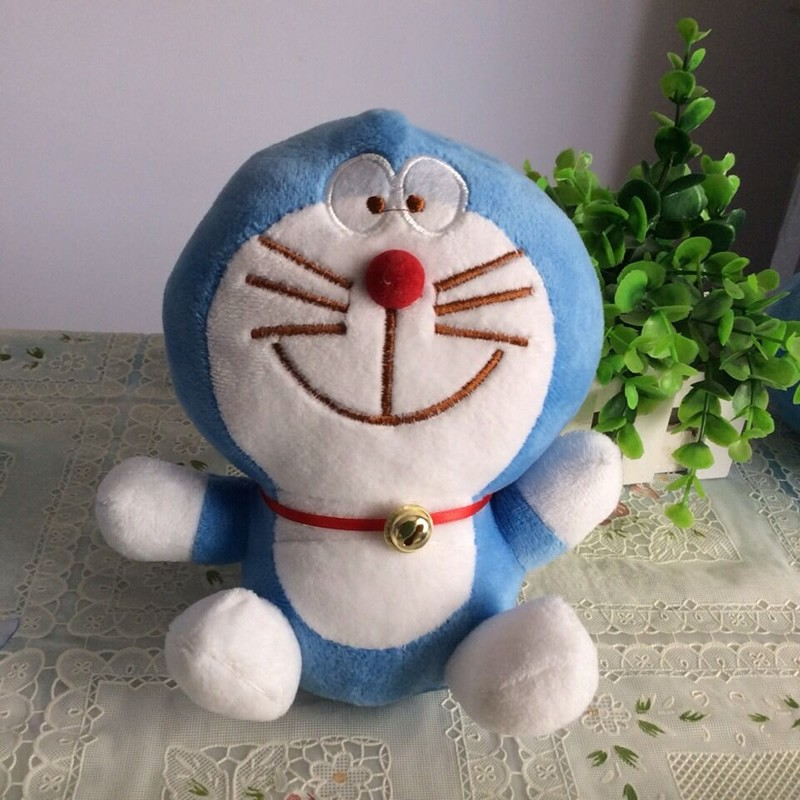 Free Shipping 1pcs Sitting 18cm=7.1'' Doraemon Plush Toys Very Cute Japanese anime Doraemon Cat Plush Toys For Children's Gift(China (Mainland))