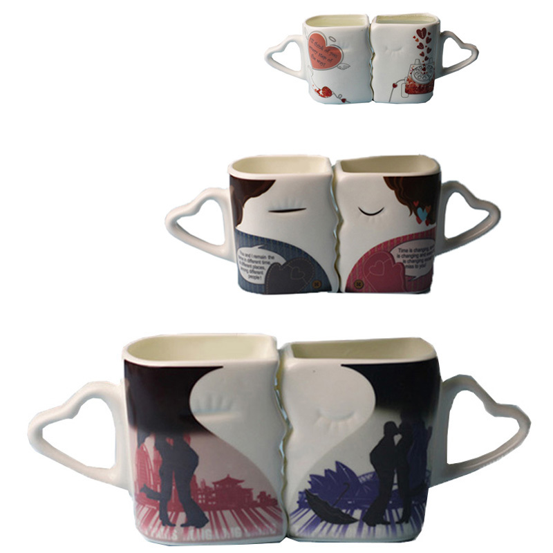 Creative Kiss Mugs Customized Color Changing Cups Lovely Coffee Cups Pair Temperature Changing Milk Mugs for Lovers(China (Mainland))