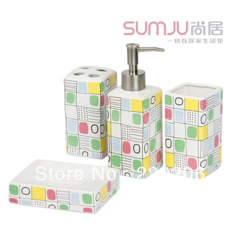 Fashion patchwork bathroom ceramic bathroom set cup bathroom supplies Covered 4 times