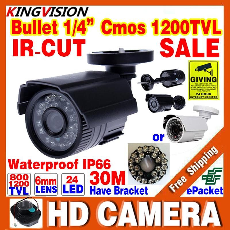 Sale!1/3cmos 800TVL/1200TVL HD Outdoor IP66 Waterproof CCTV Security Mini Camera 24LED IRCUT Night Vision 30m Colour Cheap Video(China (Mainland))