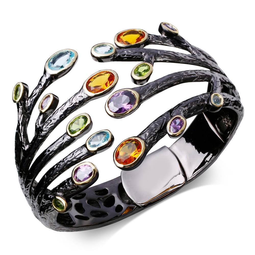 Latest fashion Elegant bracelet femme Black gold plated Fashion bangles for women jewelry Cz bracelet bangle cuff Free shipping<br><br>Aliexpress