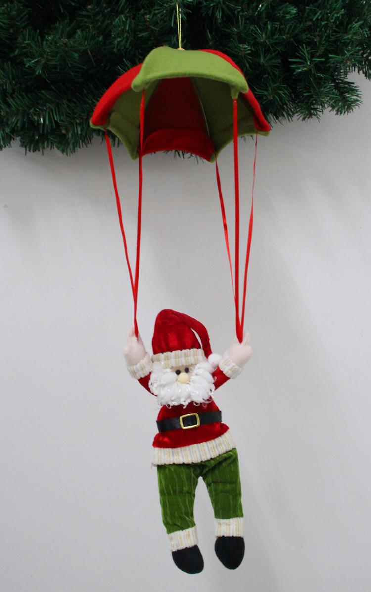 2015 Promotion Toca 2 Pcs/ Lot 60cm New Christmas Umbrella Ornament, Santa Claus And Snowman With Parachute Decoration Natal(China (Mainland))