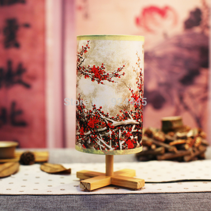fashion lighting Chinese style wooden PVC led e27 special bedside lamp decorative environmental unique table lamp bedroom bar li(China (Mainland))