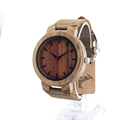 BOBO BIRD C16 Mens Antique Wooden Watches Womens Vintage Wooden Watch With Genuine Leather Band