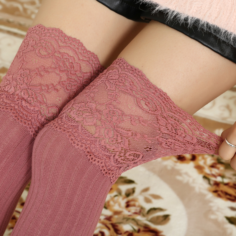 Spring Autumn Knee High Stockings Female lace thick warm Cotton Stocking A386(China (Mainland))