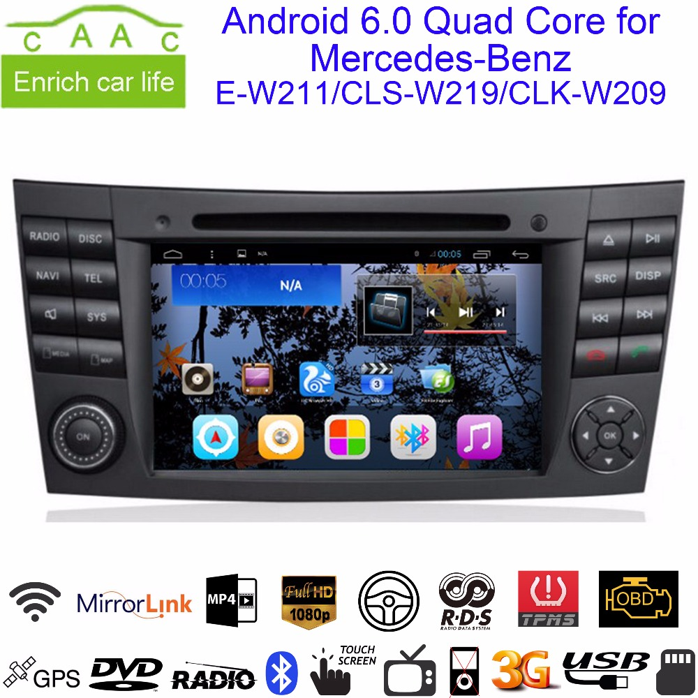 """Android 6.0 GPS Navi 2 Din 7"""" Car DVD for Mercedes Benz E W211 2002-2008/CLS W219 04-08/CLK W209 05-06 with BT/RDS/Radio/WIFI/3G(China (Mainland))"""