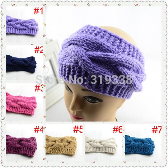 1pc Hand knit headband Womens Crochet headwrap ear warmer 11 colors WH066(China (Mainland))