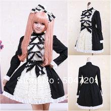 Freeshipping!2013 NEW Black Cotton long sleeve Gothic Lolita dress/victorian dress Halloween dress US6-26 XS-6XL V-997