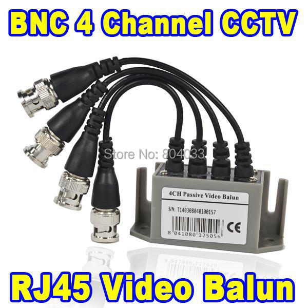 BNC Video Balun UTP Passive Video Balun Transceive 4 Channel RJ45 Network Port CAT5 CCTV BNC Video Balun Transceiver Cable(China (Mainland))
